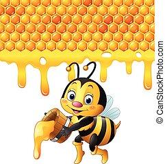 Cartoon bee holding bucket honey