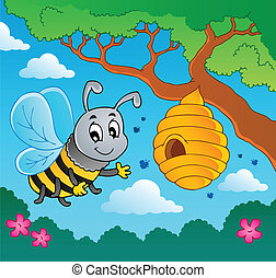 Cartoon bee with hive - vector illustration.