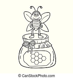 Cartoon bee with honey. Black and white vector illustration for coloring book