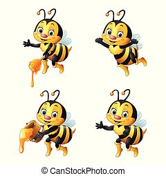 Cartoon bee with honey collections set