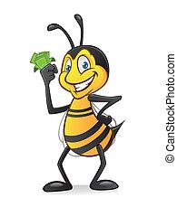 Cartoon bee with money