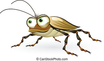 Cartoon beetle with a mysterious look. Illustration on white background