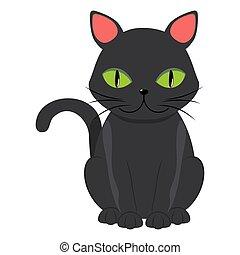 Cartoon black cat with green eyes