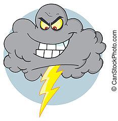 Evil Storm Cloud With Thunderbolt