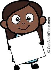 Cartoon Black Girl holding a banner