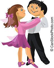 Cartoon boy and girl dancing