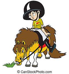 cartoon boy riding pony