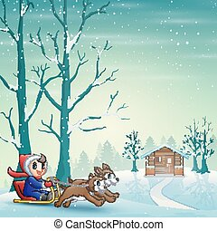 Cartoon boy riding sled on the snow pulled by two dogs