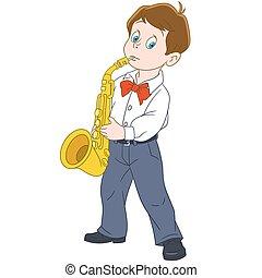 Cartoon boy saxophonist