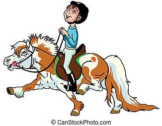 cartoon boy with pony