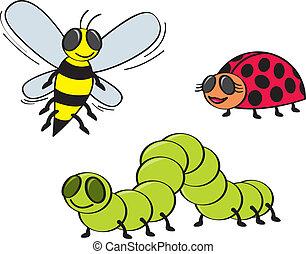 Three coomon garden bugs drawn in a cartoon style.