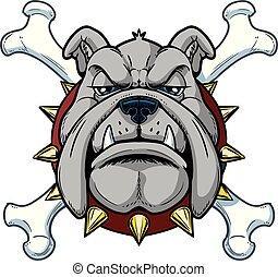 Cartoon Bulldog Mascot Head with Crossbones