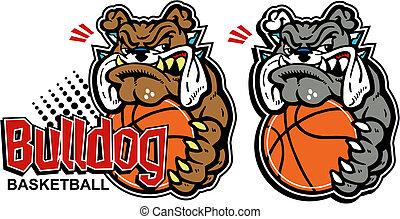 cartoon bulldog with basketball