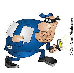 Cartoon burglar isolated on white background with copy space