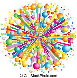 Multicolor cartoon burst, vector