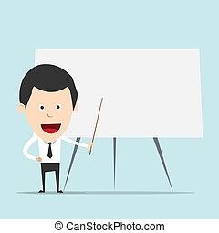 Cartoon business man teaching