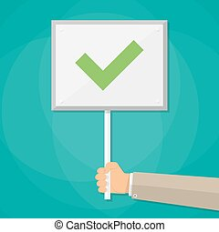 Cartoon Businessman hand hold sign with tick. positive checkmark in center. right choice concept. vector illustration flat design on green background.