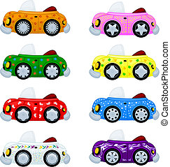 Cartoon cars. Easy to replace wheels and stickers.