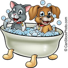 Cartoon Cat and Dog in Bath