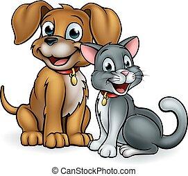 Cute cartoon cat and dog pet mascot characters