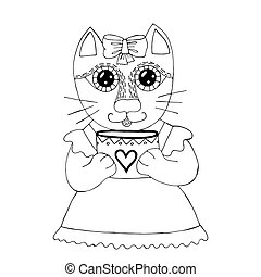 Cartoon cat for coloring book or pages