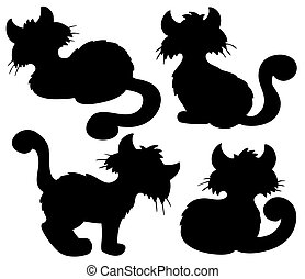 Cartoon cat silhouette collection - vector illustration.