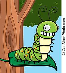 A cartoon caterpillar sitting on a leaf in a tree.