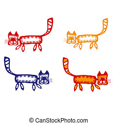 Cartoon cats. Elements for your design.
