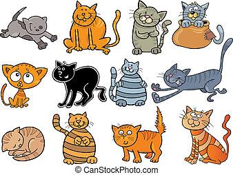 cartoon illustration of funny twelve cats set