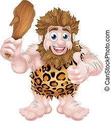 Cartoon Caveman Giving Thumbs Up