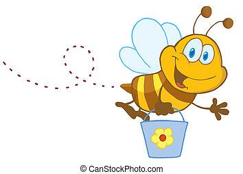 Cartoon Character Bee Flying Bucket