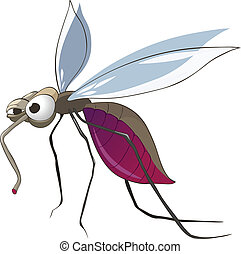 Cartoon Character Mosquito Isolated on White Background. Vector.