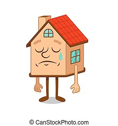 Cartoon character sad house
