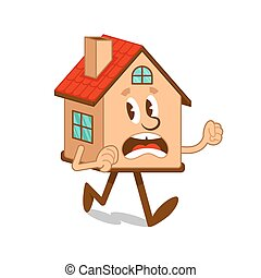 Cartoon character scared house which run away