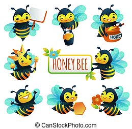 Cartoon characters of honey bee set of flat vector illustrations isolated.