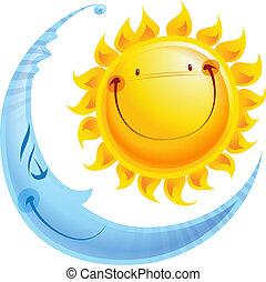 Shining yellow smiling sun and sleeping blue moon cartoon character a balance harmony icon of day and night