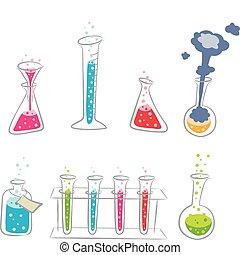 A colorful, cartoony set of chemistry equipment.