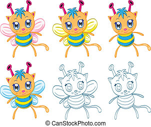 Cartoon chibi fantasy creatures