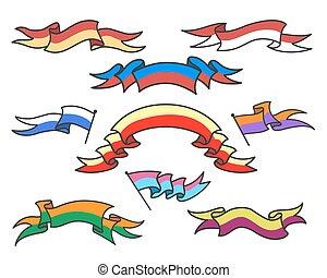 Cartoon colorful ribbons set