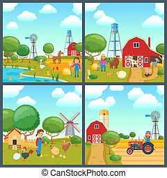 Cartoon concepts set
