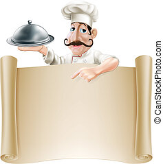 Cartoon Cook Menu Scroll