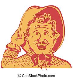 Cartoon Cowboy Howdy Sign Clip Art