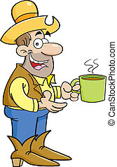 Cartoon cowboy with cup of coffee