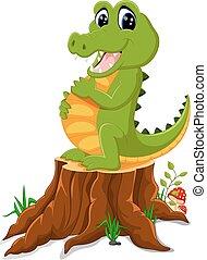 Cartoon crocodile posing