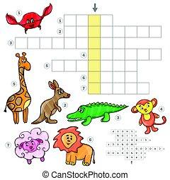 Cartoon crossword game with cute cartoon animals