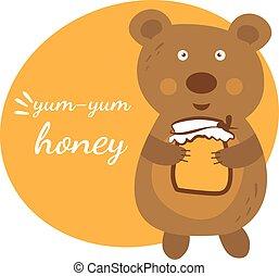 Cartoon cute bear with pot of honey. Vector