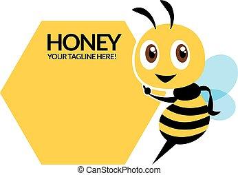 Cartoon cute bee character, flat vector mascot, pointing signboard - flat vector