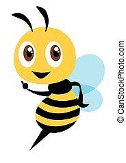Cartoon cute bee character pointing hand - flat art vector mascot character