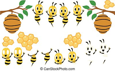 Cartoon cute bee mascot series. Beautiful cute bee. Cartoon cute bee pointing. vector illustration isolated 2019