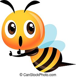 Cartoon cute bee thumb up with excited expression - vector character mascot illustration
